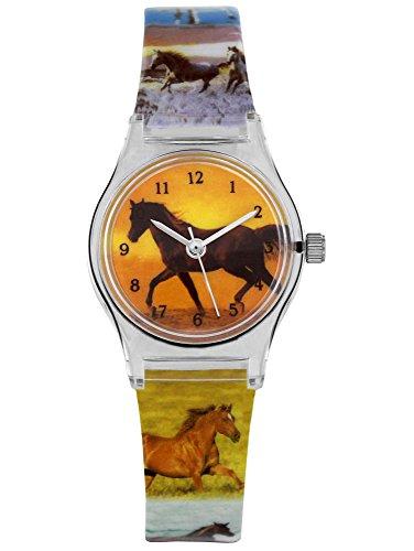 Kinderuhr Pferde - Uhr für Mädchen Kinder Armbanduhr Analog - Stute Fohlen Hengst Schimmel Tiere Tier Pferd Araber - Pferdemotiv Pferdekopf Uhren - Kinderarmbanduhr