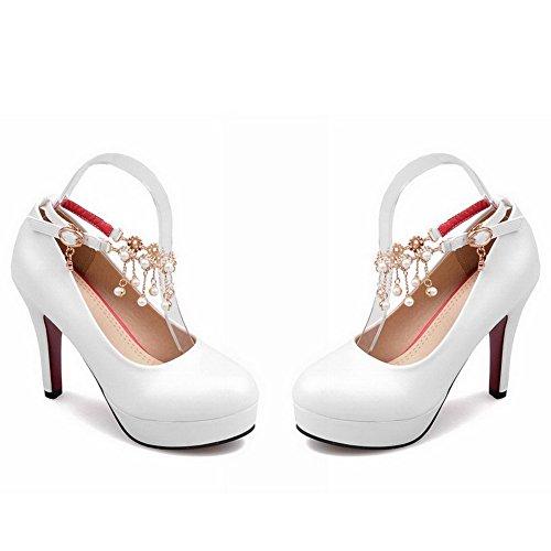 VogueZone009 Femme à Talon Haut Boucle Matière Souple Rond Chaussures Légeres Blanc