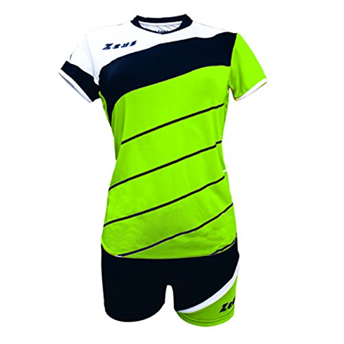 Zeus Kit Lybra Donna Damen Volleyball Trikot Hose Shirt Indoor Handball Training Ausbildung Grün-Schwarz-Weiss (XL)