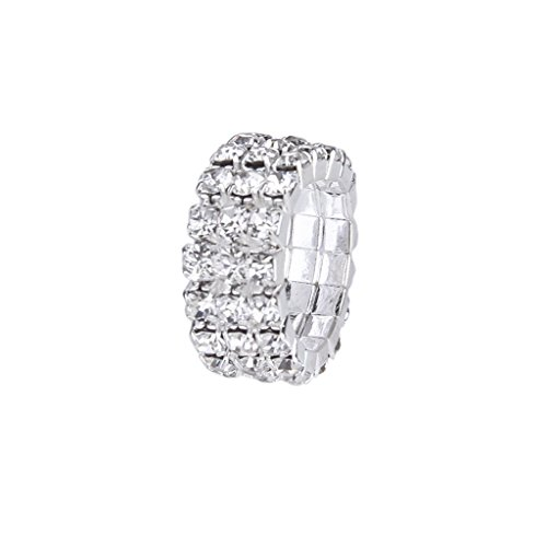 Imported Elastic Silver Tone 3 Row Crystal Rhinestone Toe Ring Bridal Jewelry 9mm  available at amazon for Rs.170