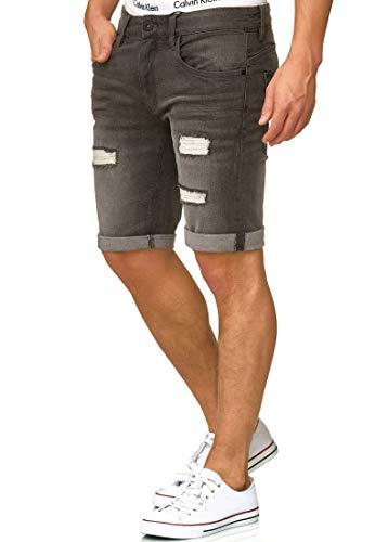 Indicode Herren Caden Jeans Shorts Kurze Denim Hose mit Destroyed-Optik aus Stretch-Material Regular Fit Dk Grey XL - Und Jeans Hosen