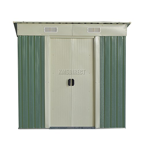 foxhunter-garden-shed-metal-pent-roof-4ft-x-8ft-outdoor-storage-with-free-foundation-light-green-and