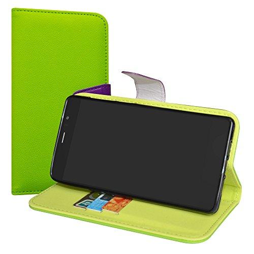 LiuShan Archos Diamond 55 Selfie/Lite Hülle, Brieftasche Handyhülle Schutzhülle PU Leder mit Kartenfächer und Standfunktion für Archos Diamond 55 Selfie/Diamond 55 Selfie Lite Smartphone,Grün