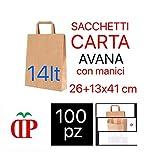 C.N. Shopper Carta Sacchetti di Carta con Manici Avana 26x41 cm 100 PZ Shopper Busta in Carta Kraft Marrone Borsa Ecologica per Negozi