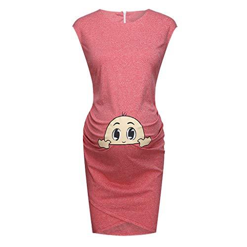 Denim Maternity Shirt (Umstandsmode Damen Kleider, Oyedens Mama Schwangere Ärmelloses Kleid Frauen Cartoon Baby Umstandstop Umstandsshirt Lustig Mit Baby)