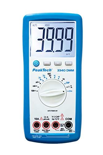 PeakTech RMS Digital Multimeter 4000 Counts mit Durchgangsprüfer, Autorange und großer Anzeige - CAT III 600V, 1 Stück, P 3340