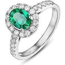 Epinki Oro de 18 Quilates Anillos Oval Emerald Forma Mujeres Anillo Solitario Anillos de Compromiso con