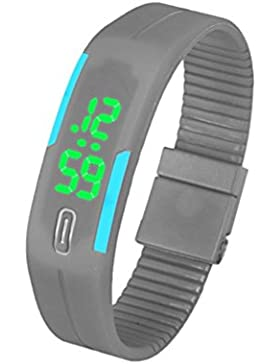 FEITONG Mode Damenuhr Herrenuhr Silikon LED Uhr Datum Sports Digital Armbanduhr Grün + Grau
