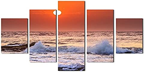 OBELLA New Top Wall Art Canvas Prints 5 Pieces || Sunrise On Beach With Screw Ocean Wave || Modern Contemporary Posters Oil Paintings Prints and Pictures Photo Image Wall Art Prints on Canvas Painting for Home Bedroom Living Room Wall Decor Christmas Gifts Decoration - Frameless