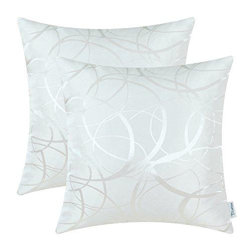 2 Packung CaliTime Kissenbezüge Kissen Shells Umkehrbare, moderne Kreisringe 45cm X 45cm Weiß