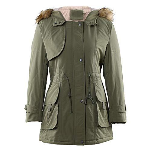 DQANIU Damen Winter warme Kapuzenjacke Dicke warme dünne Jacke Mantel Lange Elegante Damen Plus Samt Outcoat Street Style Winddichte warme Mantelbluse