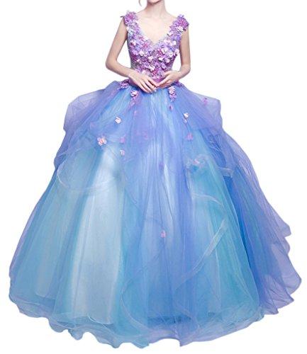 ivyd ressing Damen onirico Scollo a V fiori Such ESSE della linea lungo abito del partito Prom abito Fest vestito abito da sera Blau