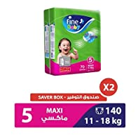Fine Baby Diapers Green Fast Sorption, Maxi 11-18 Kgs, Mega Pack, 140 Count