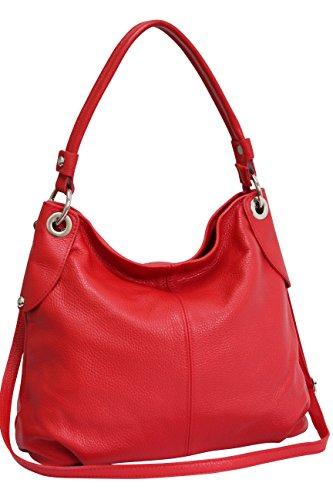 AMBRA Moda Damen echt Ledertasche Handtasche Schultertasche Beutel Shopper Umhängtasche GL012 (Rot)