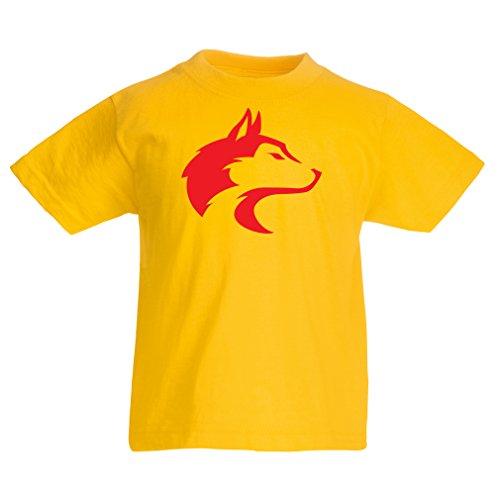 Lepni.me t-shirt per bambini il richiamo del lupo selvatico: grafica fresca con tatto spirituale (3-4 years giallo rosso)