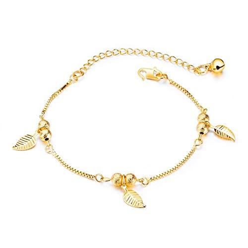 Gkmamrg Damen Fußkettchen Gold, 18K Vergoldet Blätter Fußkette Kugelkette Armreif Sommer Strand Fuß Schmuck für Frauen Mädchen