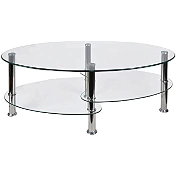 Home Discount Cara Glass Coffee Table Clear Oval Stainless Steel Legs Modern