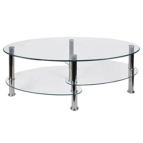 Vida Designs Cara Glass Coffee Table with Oval Stainless Steel Legs, Clear