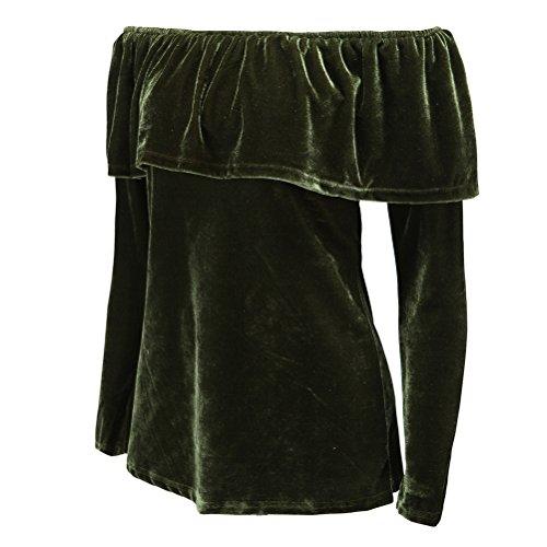 Femmes Sexy manches longues bretelles Lotus Feuille Slim Fit Blouse Shirt Top T-shirt Vert