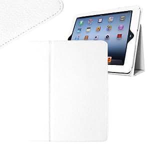 Original Hostey Hülle Tasche Case für Apple Das Neue iPad 3 / iPad 4 mit Aufsteller / Auto Sleep & Auto Wake Funktion(Compatible with the new iPad 2/ 3/iPad 4,) - Schwarz, PU Leder+ Displayschutzfolie+ Stylus (Weiß/White)
