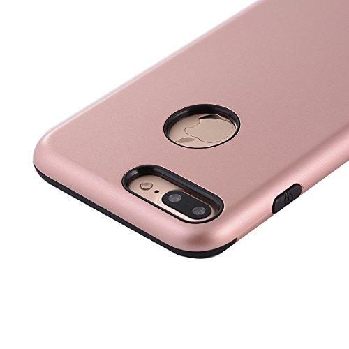 "MOONCASE iPhone 7 Plus Coque, Combo Hybride Dual Layer TPU +PC Etui Antichoc Robuste Housse Protection Armure Case pour iPhone 7 Plus 5.5"" Argent Rose Or"