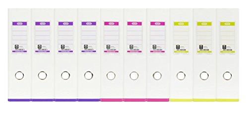 ELBA 100023638 Ordner myColour 10er Pack Kunststoffbezug außen und innen 8 cm breit DIN A4 zweifarbig weiß sortiert, weiß/violett, weiß/pink und weiß/hellgrün - 3