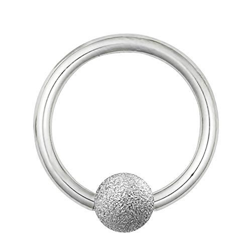 Treuheld Piercing Klemmring - Stahl - Diamant - Silber [04.] - 1.2 x 8 mm (Kugel: 4mm)