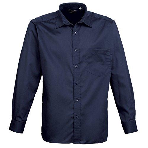 Premier - Camicia in Popeline Manica Lunga - Uomo Blu navy
