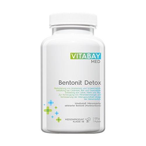 Bentonit DETOX Pulver 120 g - Medizinprodukt - mikronisierter aktivierter Bentonit - Ultrafein - Montmorillonit Gehalt über 90% - zur Entgiftung, Schwermetall-Ausleitung, Leber-Reinigung