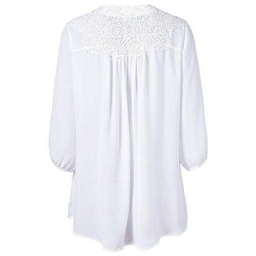 iBaste Plus Size Blusen Damen Lockere Shirt V-Ausschnitt 3/4 Arm Shirt Damen Oberteil mit Spitze Shirt Übergrößen Weiß