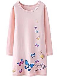 HOYMN Chemise de nuit à Manches Longue pour Enfant Bébé Fille 1-12ans & Imprimée Papillons Pyjama en coton Rose