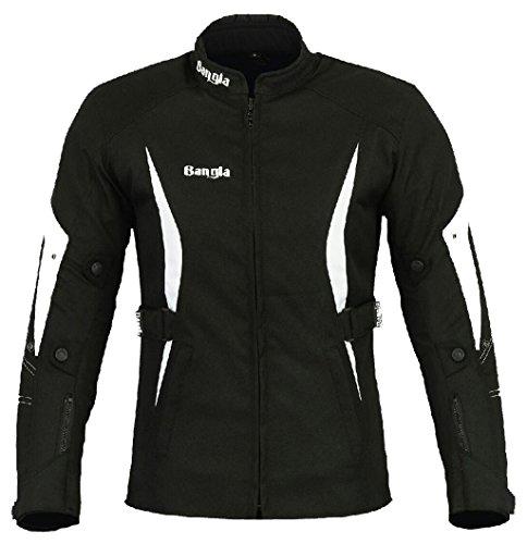 *Bangla Sportliche Damen Motorradjacke Touren Jacke Textil B-104 Schwarz weiss M*