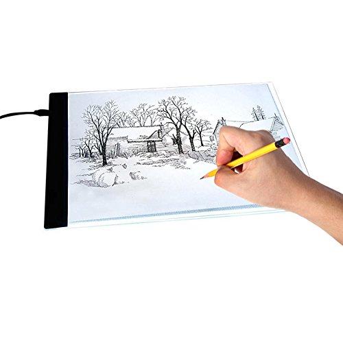 Akozon Reißbrett Licht Pad, 1 stück A4 LED Kunst Schablone Board Licht Pad Tracing Zeichnung Tischplatte für Kinder Künstler(UK-Stecker) -