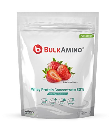 [Sponsored]Advance Nutratech BulkAmino Whey Protein Concentrate 80% Raw Powder Nutrition Supplement – 500 Gms – Strawberry...