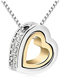 Valentine Gifts : Shining Diva Two-Tone Gold & Silver Plated Heart Pendant Necklace For Girls And Women   Valentine...