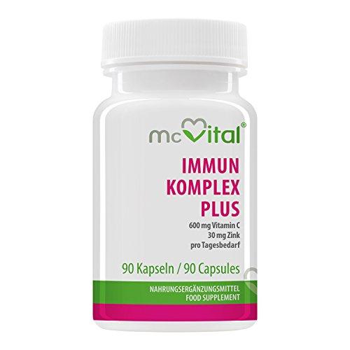 Immun Komplex plus - 600 mg Vitamin C - 25 mg Zink - pro Tagesbedarf - Immunsystem - 90 Kapseln - Pro-vitamin Zink Vitamine