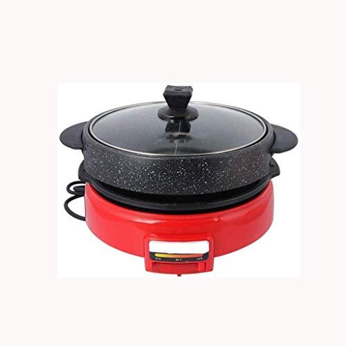 Kyman Multi Herd, Doppel-Flavor Hot Pot mit Glasdeckel, Topf mit Nonstick Granit Keines Öl Rauch Grill Bratpfanne