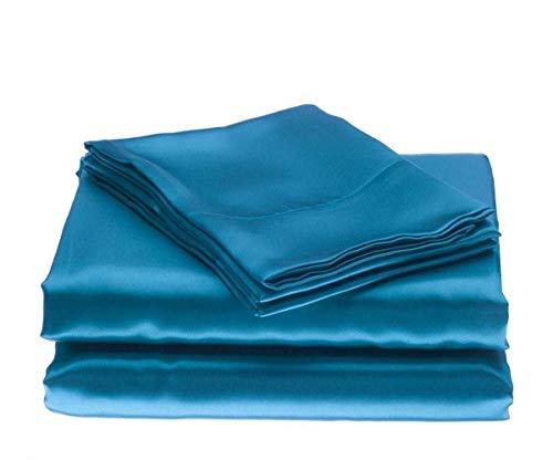 zuverlässig Betten Luxuriöser Ultra, seidig Satin 7-teilig Bettwäsche-Set mit Bettlaken Set, Satin, türkis / blau, California Queen (Queen-bett-sets, Türkis)