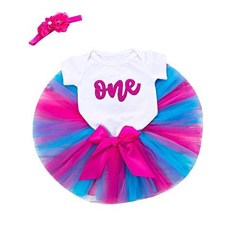 Baby Anzug,Baby Mädchen Anzug Elegante T-Shirt Geburtstag Brief Pettiskirt Rock+Overall+Stirnband Anzug Kinder Sommer Dreiteilig Anzug(Pink,6M) -