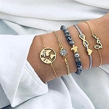890e130f53 Yesiidor 5Pcs böhmisches mehrschichtiges Armband-Gesetzte  Frauen-Mädchen-Art und Weise Vinatge Reizend