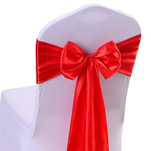 10PCS 17x 275cm satin sedia fascia da matrimonio ricevimenti banchetti decorazione #14 Red