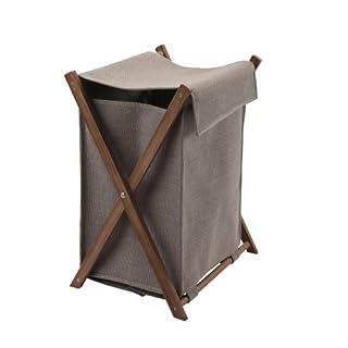 Wäschekorb Wäschesack Taupe mit Holzgestell Dali Aquanova