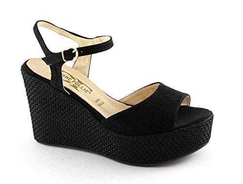 DIVINE FOLIE 2024 sandales compensées corde noire femme sangle plateaux Nero
