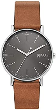 Skagen Signatur Men's Grey Dial Leather Analog Watch - SKW