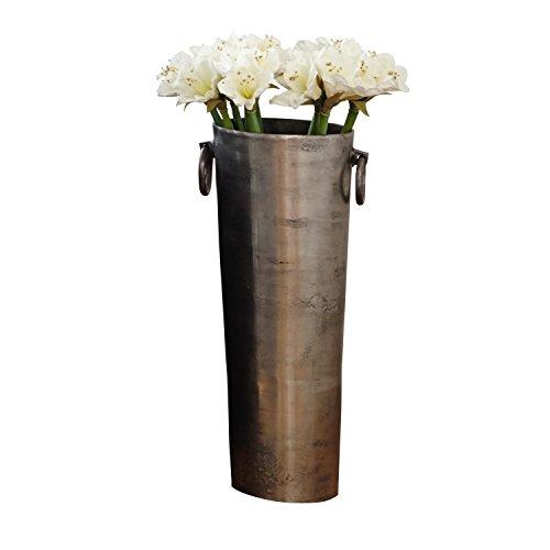 Loberon Vase Shanice, Aluminiumguss, H/Ø ca. 76/30 cm, Silber