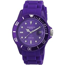 New York-Madison SU4167U Unisex Watch Analogue Quartz Analogue Watch-Purple Face-Purple Silicon Strap
