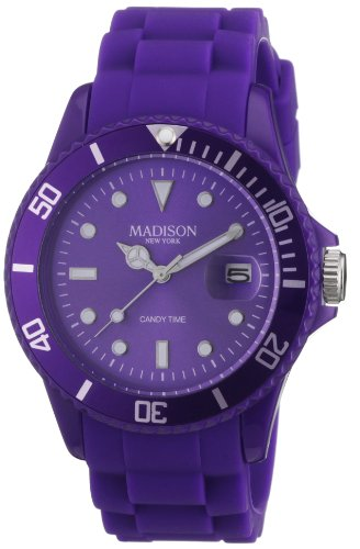 Madison New York Unisex-Armbanduhr Candy Time Analog Silikon lila U4167-01/2