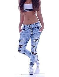 Damen Boyfriend Jeans Hose Baggy Harem nieten Risse Hellblau XS 34 S 36 M 38 L 40 XL 42