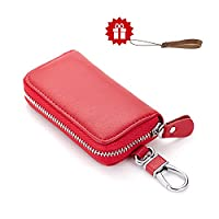 Leather Key Wallet HmiL-U Premium Zipper Genuine Leather Car Keychain Key Holder Key Case Bag Credit Card Holder Wallet??�With A Free Leather Lanyard??? (Red)