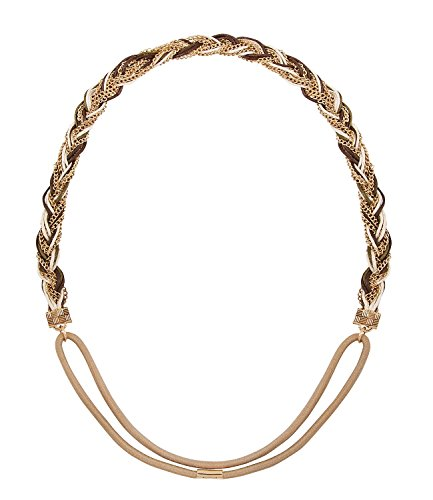 SIX Festival elastisches Haarband Kopfband mit geflochtener Kette in Gold, Indianer, Kostüm, Karneval (252-968)
